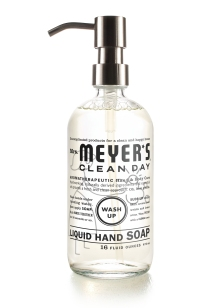 Look at the cute new Mrs. Meyer's reusable glass handsoap bottle!  I'll need three of these to replace the grubby plastic containers at our house.