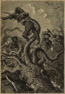 A likely Kraken: Twenty Thousand Leagues Under the Sea by Jules Verne (1870).  And yes, this is how I often feel with my little Kraken.