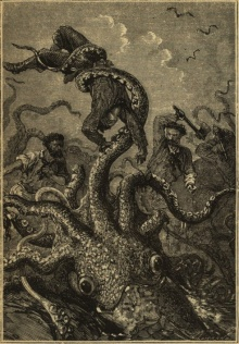 A likely kraken: Twenty Thousand Leagues Under The Sea by Jules Verne (1870).  Also a fairly typical snapshot of life Chez Stephens.